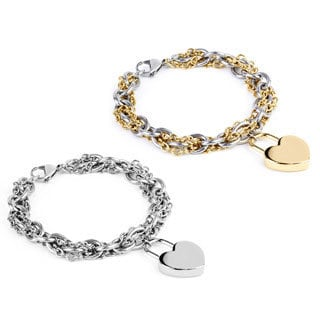 ELYA Women's Stainless-steel Double-chain Bracelet with Heart Charm