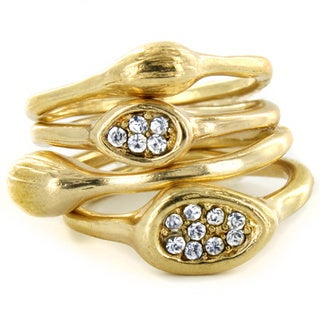 West Coast Jewelry Sparkling Crystal Stackable Ring Set