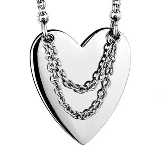 Stainless Steel Polished Heart and Hanging Chain Necklace