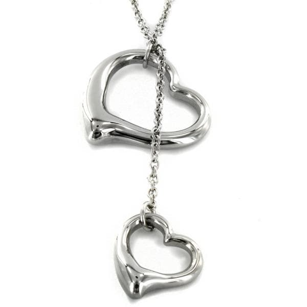 Elya Designs Stainless Steel Double-heart Pendant Necklace With Cable Chain
