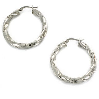West Coast Jewelry Stainless Steel Twist Hoop Earrings