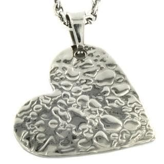 Stainless Steel Textured Heart Necklace