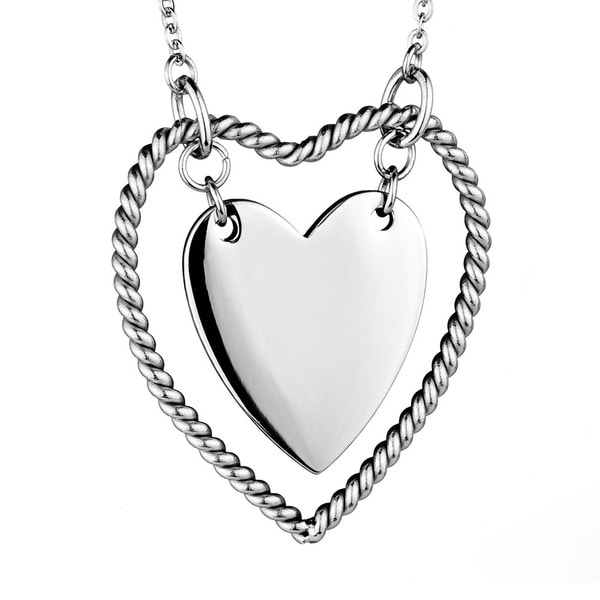 Stainless Steel Rope Design Double Heart Necklace
