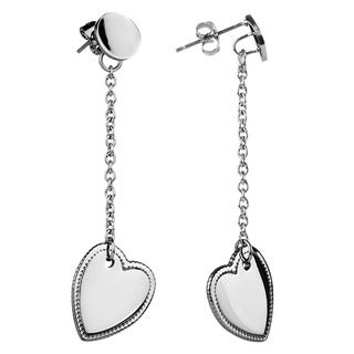 ELYA Stainless Steel Dangle Heart Earrings