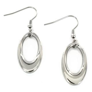 ELYA Stainless Steel Oval Dangle Earrings