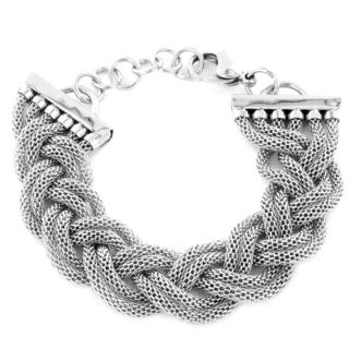 West Coast Jewelry Stainless Steel Braided Mesh Bracelet