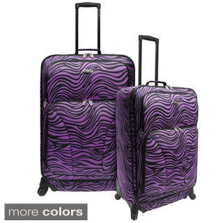 U.S. Traveler by Traveler's Choice 2-piece Exotic Zebra Print Expandable Spinner Checked Luggage Set