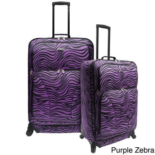 U.S. Traveler 2-piece Exotic Zebra Print Expandable Spinner Checked Luggage Set