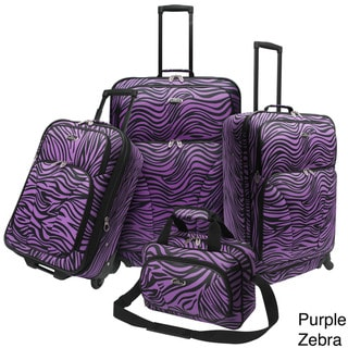 U.S. Traveler 4-piece Exotic Zebra Print Spinner Luggage Set