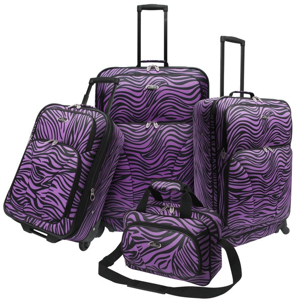 U.S. Traveler by Traveler's Choice 4-piece Exotic Zebra Print Spinner Luggage Set