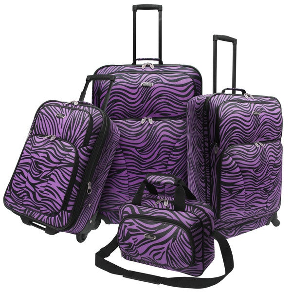 U.S. Traveler by Traveler's Choice 4-piece Exotic Zebra Print Spinner Luggage Set