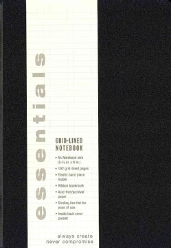 Essentials Large Black Grid-lined Notebook, A5 Size (Notebook / blank book)