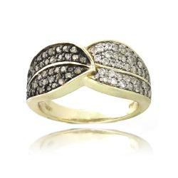 Glitzy Rocks 18k Gold over Silver 3/8ct TDW Diamond and White Topaz Leaf Ring