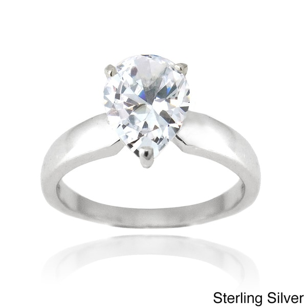 Icz Stonez Sterling Silver 3ct TGW Cubic Zirconia Engagement-style Ring
