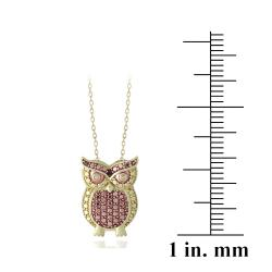 DB Designs 18k Yellow Gold over Sterling Silver Red Diamond Owl Necklace