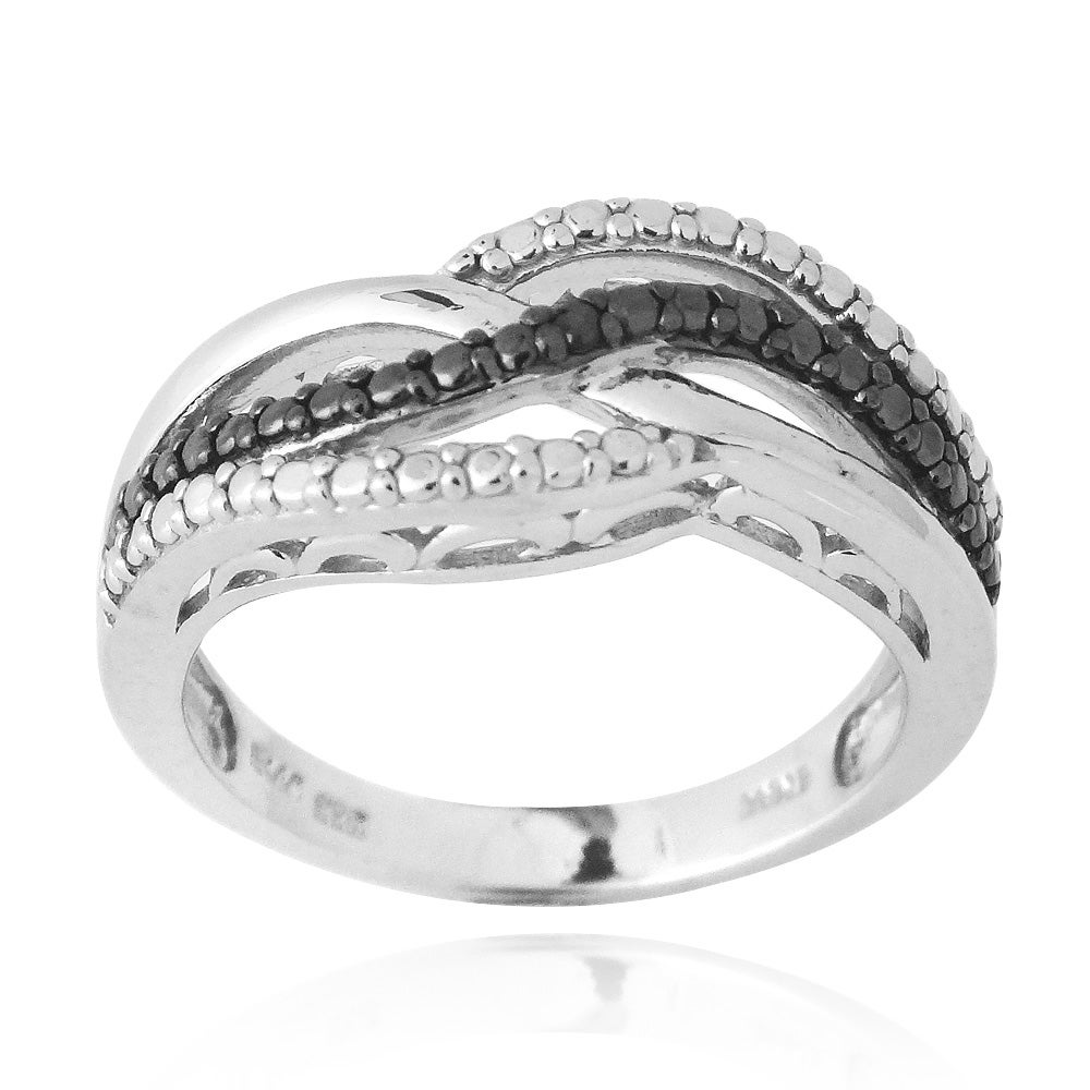 DB Designs Sterling Silver Black Diamond Accent Intertwining Ribbon Ring