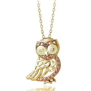 DB Designs Tri-color Gold over Sterling Silver Red Diamond Accent Owl Necklace