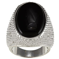 City by City City Style Brass Oval Black Crystal Ring