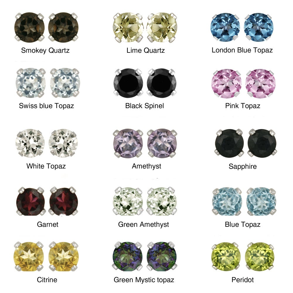 Glitzy Rocks Sterling Silver Gemstone 5-mm Stud Earrings