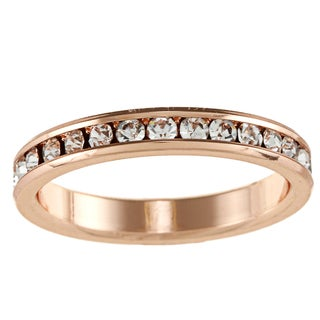 High-polish Rose-goldtone Brass/Crystal Cubic Zirconium Eternity Band
