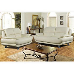Alice Ivory Bonded Leather 2-piece Set