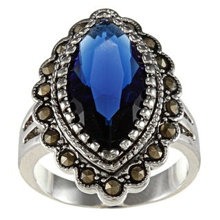 City Style Brass Blue Cubic Zirconium Marcasite Marquis Ring