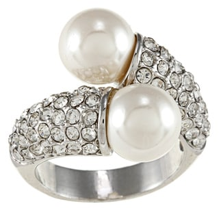 City Style White Pearl and Clear Crystal Wrap Ring