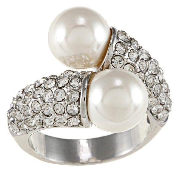 City by City City Style White Pearl and Clear Crystal Wrap Ring