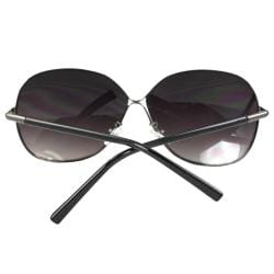 Women's Black Metal Oval Fashion Sunglasses