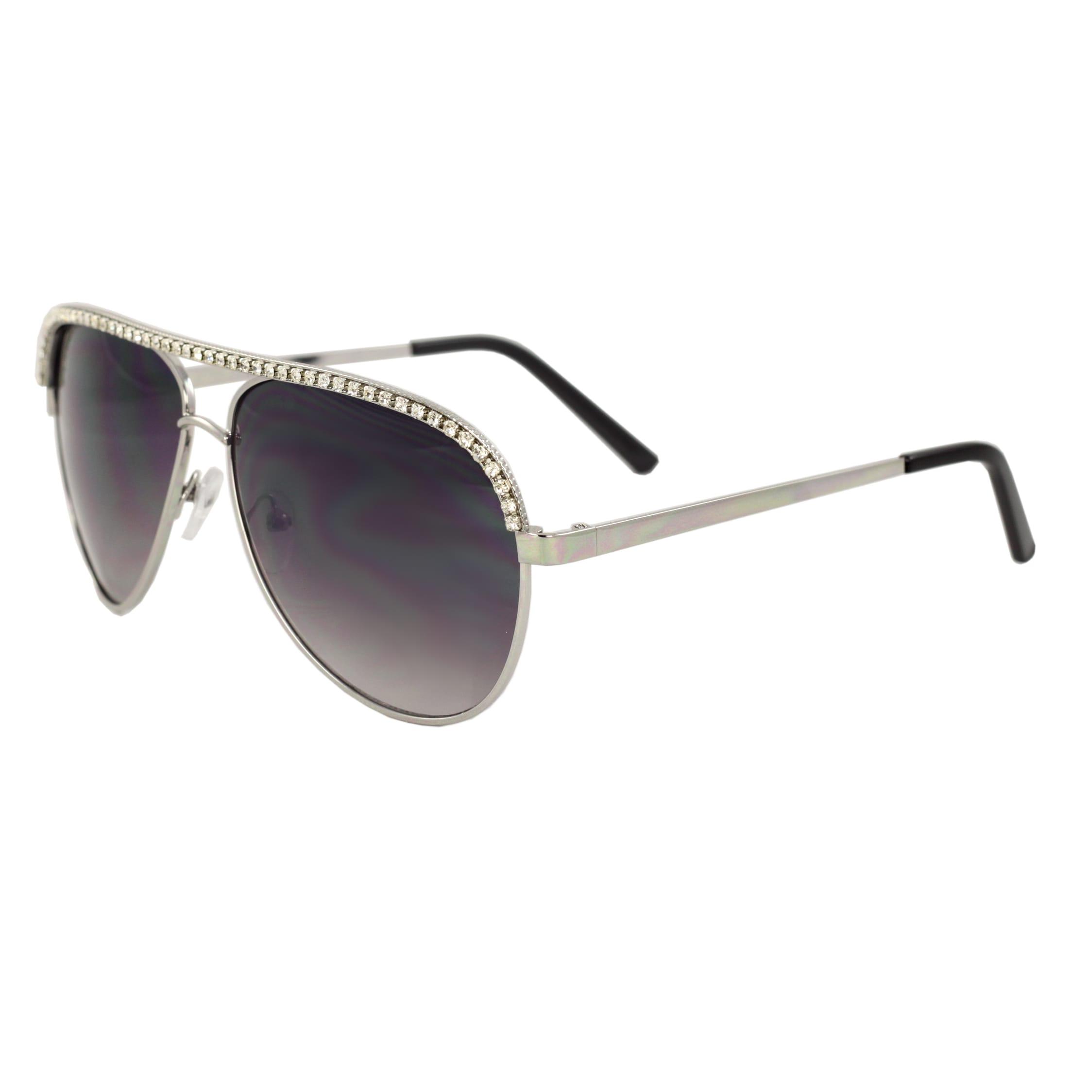 Women's Rhinestone Embossed Aviator Sunglasses