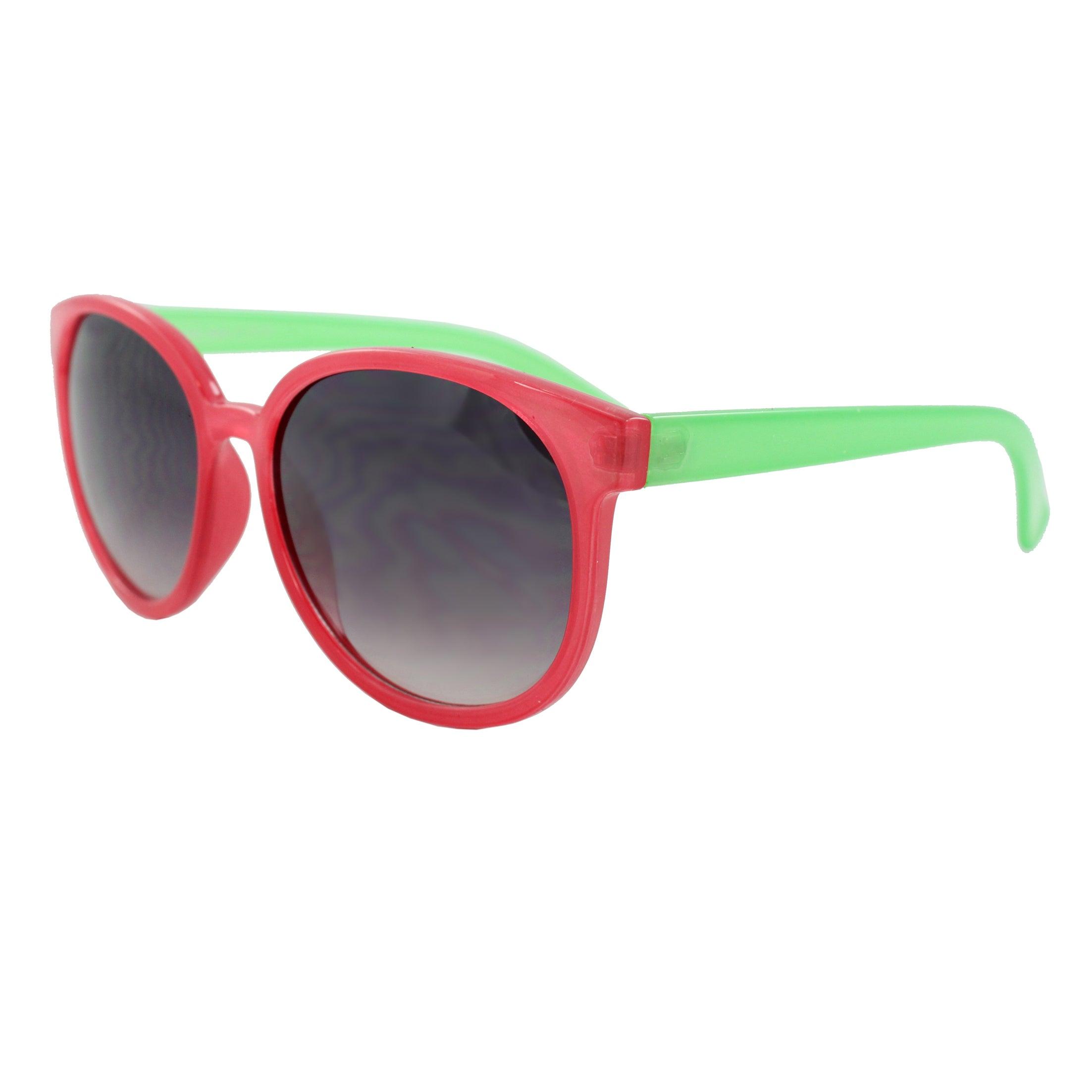 Women's Pink/ Green Oval Fashion Sunglasses