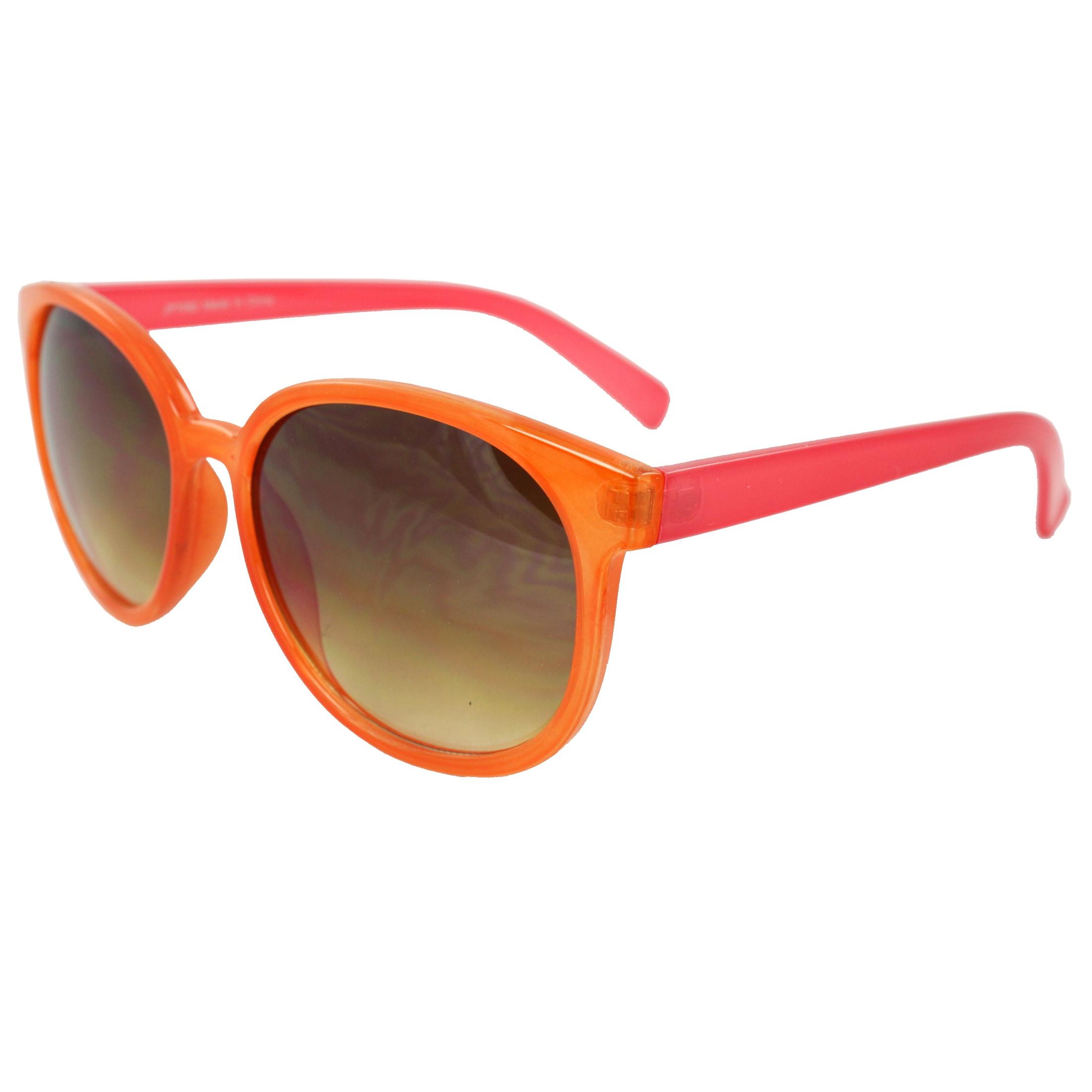 Women's Orange/ Pink Oval Fashion Sunglasses