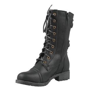 Wild Diva by Beston Women's 'TIMBERLY-02' Mid Calf Combat Boots