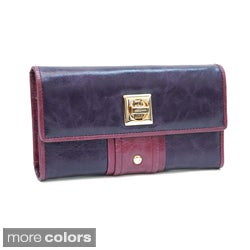 Anais Gvani Color-blocked Leather Clutch Wallet