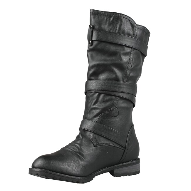 Wild Diva by Beston Women's 'Tina-13A' Black Combat Boots