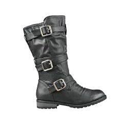 Wild Diva by Beston Women's 'Tina-13A' Black Combat Boots