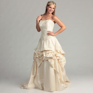 Eden Bridals Women's Bustled Strapless Bridal Dress