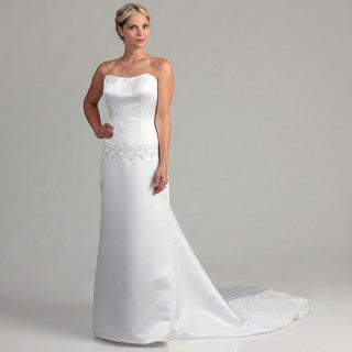 Eden Bridals Women's White Satin Strapless Bridal Dress