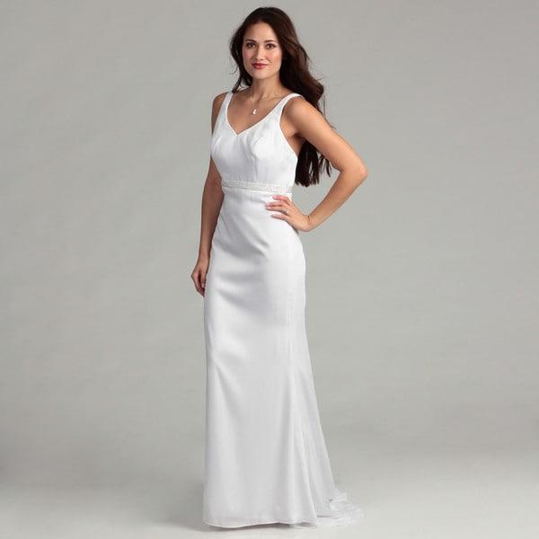 Eden Bridals Women's White Sleeveless Bridal Dress