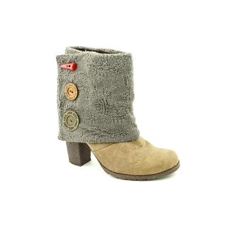 Muk Luks Chris Short Button Up Spat Bootie on Chunky Heel