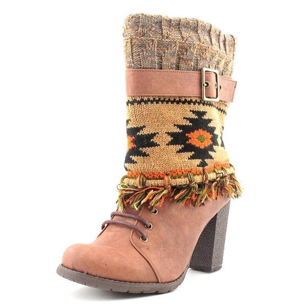Muk Luks Cassandra Fringed Spat Boot on Chunky Heel