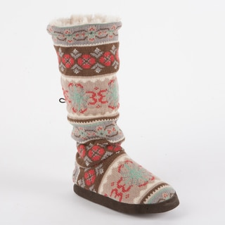 Muk Luks 'Tina' Flower Fairisle Toggle Slipper Boot