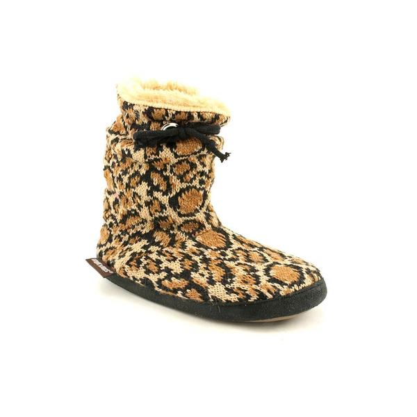 Muk Luks 'Molly' Girls' Animal Print Scrunched Tie Slipper Boot
