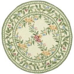 Safavieh Hand-hooked Garden Trellis Ivory Wool Rug (5'6 Round)