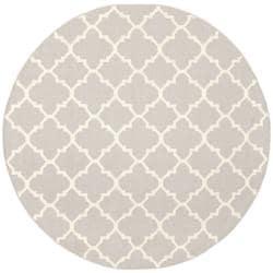 Safavieh Handwoven Moroccan Reversible Dhurrie Grey/ Ivory Wool Area Rug (6' Round)