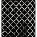 Moroccan Dhurrie Black/Ivory Contemporary-Pattern Wool Rug (8' Square)