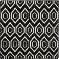 Safavieh Moroccan Reversible Dhurrie Black/Ivory Multi-Diamond-Motif Wool Rug (8' Square)