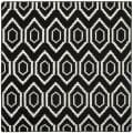 Moroccan Dhurrie Black/Ivory Multi-Diamond-Motif Wool Rug (8' Square)