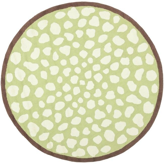 Safavieh Handmade Children's Safari Green/ Ivory Wool Rug (6' Round)