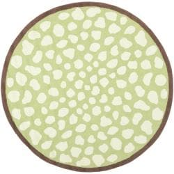 Handmade Children's Safari Green/ Ivory Wool Rug (6' Round)